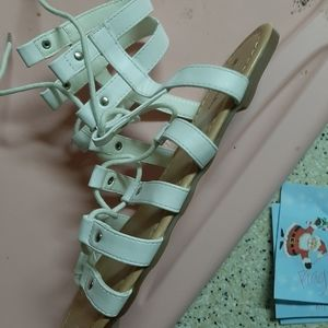 Cute white lace up sandals